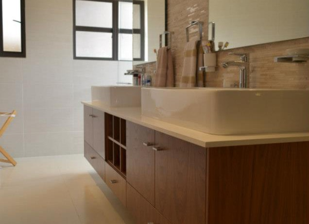 Created contemporary floating vanity