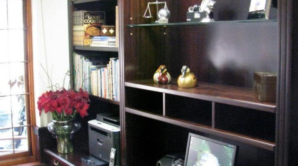 Sapele mahogany office desk and library