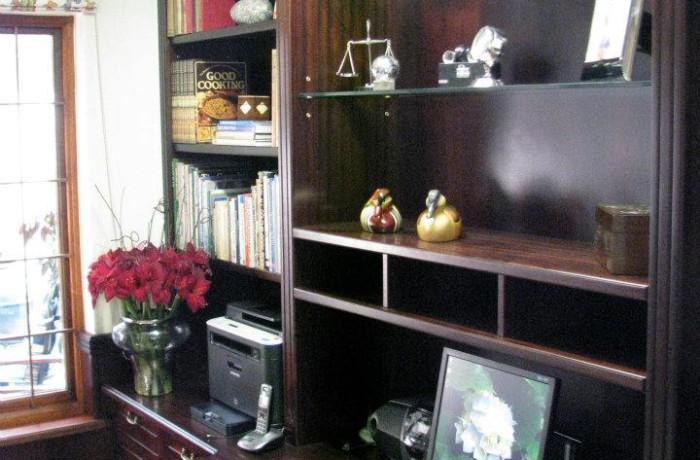 Sapele mahogany office desk and library