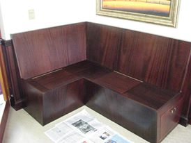 Stained crown mahogany veneer bench