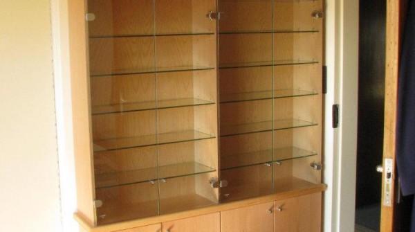 Beech wood veneer model display cabinet.