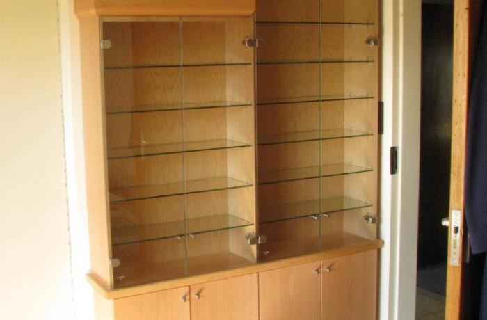 Beech wood veneer model display cabinet.
