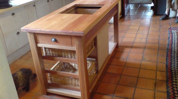 Solid Saligna kitchen island unit.