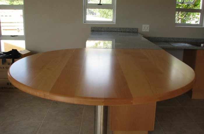 Solid beech bar with granite tops