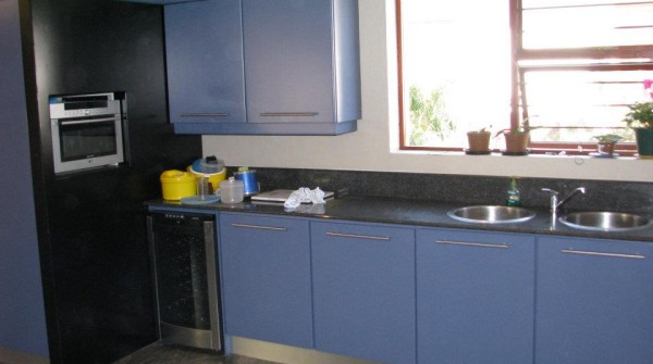 Cobalt blue and gloss black kitchen