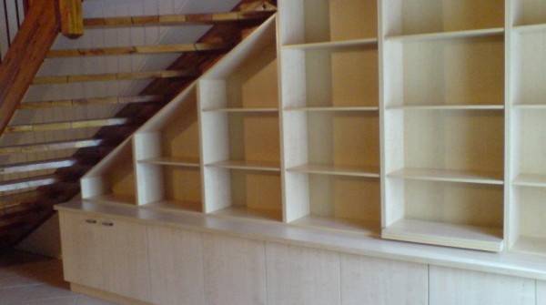 Under stair maple melamine bookshelf