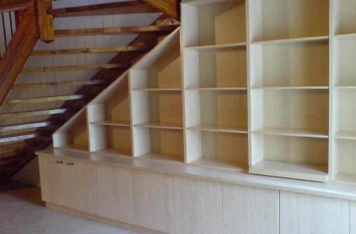 Under stair maple melamine bookshelf
