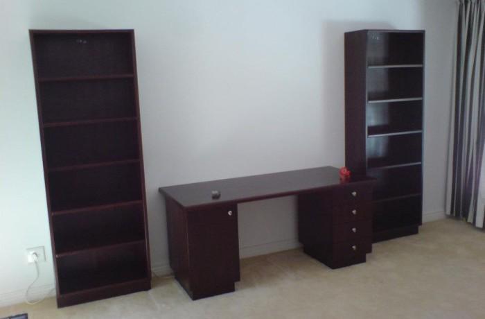 Custom desk and bookshelves