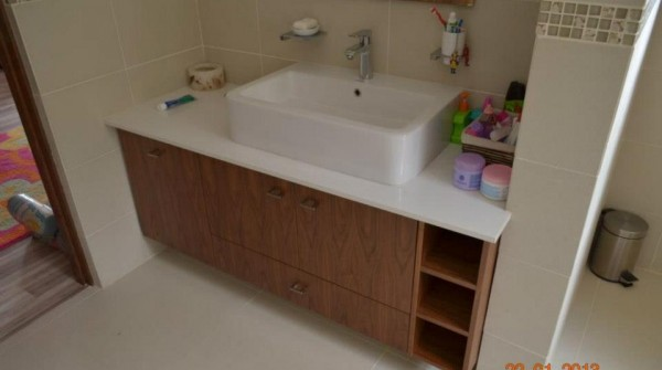 Custom floating vanity for Kids Bathroom
