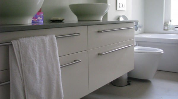 White and Grey Granite topped vanity