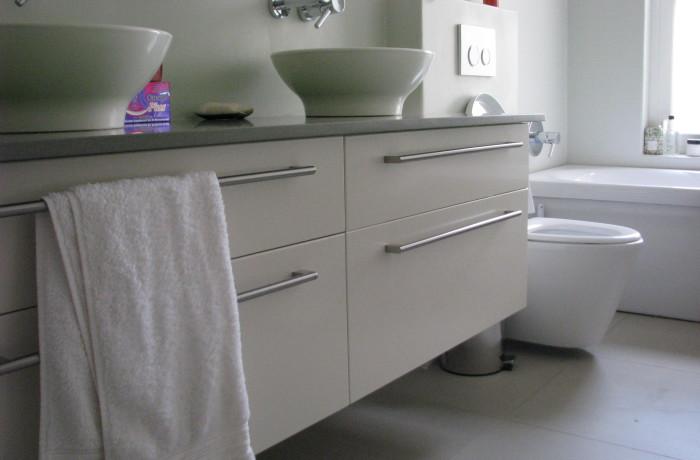 White and Grey Granite topped vanity